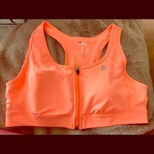 Bright coral sports bra